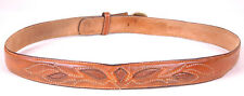 Vtg Western Leather Belt-Lizard Skin Inlay-Brown-Distressed-So lid Brass Buckle