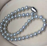 AAA  9-10mm round south sea silver grey pearl necklace 18 inch silver