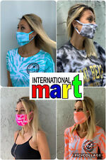 Tie Dye Face Mask Mouth Cover 3 Layers Reusable Washable Unisex Made in USA