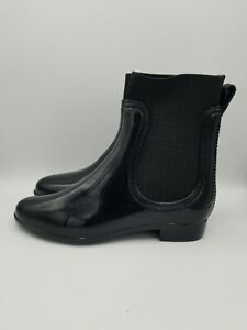 Catherine Malandrino Patent Leather Fabric Boots Womens 40 US 9 Black Quilted