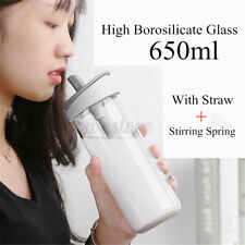 650ml Straw Glass Water Bottle Office Sport Travel Mug With Stirring Spring