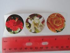 3 Flower STICKERS ~ TRADER JOE'S Grocery Stores in Multiple States ~ Rose, Lily+