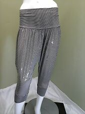 VOLL Black & White Striped Pants W/ Silver Thread Lines~Size L