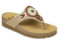 SCHOLL TAILA BioPrint sandali infradito ciabatte pantofole donna zeppa tessuto