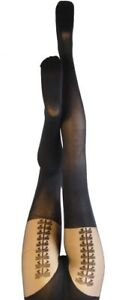 Quality Tights UK Made Silky Black Opaque Mock Suspender Bow Tights New Medium