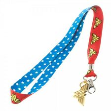 DC Comics Wonder Woman Lanyard Neck Strap Necklace ID Holder Keychain w/ Charm