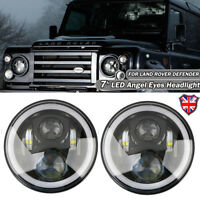"2x7"" Angel Eye LED Headlight Halo Ring Projector For LAND ROVER DEFENDER 90 110"
