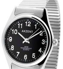 Herren Armbanduhr Schwarz/Silber mit Metall-Zugband Zugarmband von AKZENT 762118