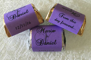 300 PURPLE MONOGRAM WEDDING CANDY WRAPPERS/LABELS/STICKERS PERSONALIZED FAVORS