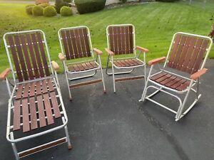4 Vintage Wood Slat Aluminum Folding Lawn Chair Mid Century Modern