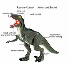 Walking Dinosaur Toy Remote Control Great Gift For Kids Velociraptor Sounds NEW