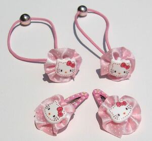 Girls Baby Hello Kitty Pink Hair Clip Hair Band Hair Accessories Set ~ Ages 1-2