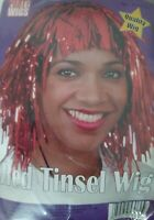 Red Tinsel Wig Metallic 80s 90s Ladies Mens Wig Fancy Dress Costume Accessory