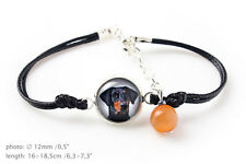 Doberman Uncropped. Bracelet for people who love dogs.Photojewelry. Handmade. CA