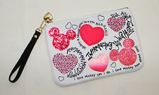 Disney Minnie . I Love Mickey Wristlet / Purse / Cosmetic Bag . White Red Hearts