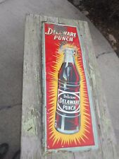 Vintage Vertical DELAWARE PUNCH SODA POP Tin Advertising Sign - GREAT GRAPHICS