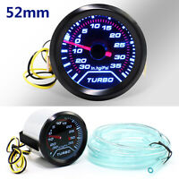 52mm Turbo Boost Pressure Pointer Gauge Meter Smoked Dials 30Psi Pob LED