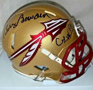 Bobby Bowden Charlie Ward Signed Florida State Gold Mini Helmet PROOF JSA Coa