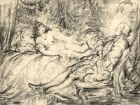 Harold Hope Read, Georgian Gentleman & His Mistress – 1920s charcoal drawing