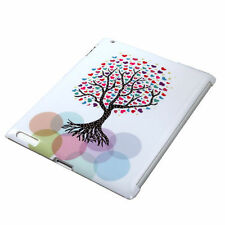 NEW Apple iPad 2 - HARD GLOSSY FEEL CASE COVER WHITE COLORFUL LOVE TREE HEARTS