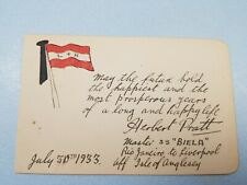 1933 Biela Britsh Steam Merchant Ship  Message from of ship Master Herbert Pratt