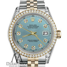 Rolex 26mm Datejust 2 Tone Ice Blue Diamond Numbers Lugs 18K Stainless Steel
