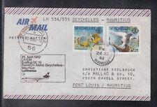 A 198 ) beautiful FFC / First Flight 1982 -  Lufthansa - Seychelles to Mauritius