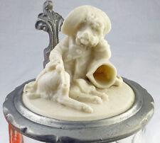 Bierkrug Glaskrug Zinndeckel Porzellan-Einlage Hund Pfeife Schlapphut 19.JH