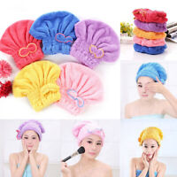 CW_ Bowknot Water Absorbent Quick Hair Dry Cap Bathing Hat Tool Drying Head Towe