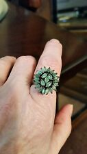 925 STERLING SILVER EMERALD RING WITH BLACK RHODIUM FINISH SIZE 7