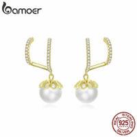 BAMOER Women Gold Stud Earrings S925 Sterling Silver Zircon Gentle life Jewelry