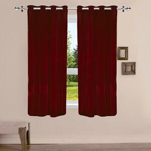 1Pc Solid Pattern Grommet Room Darkening Brown Velvet Curtain Drapes Door/Window