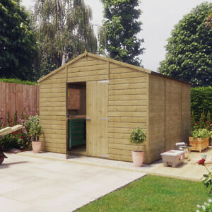 10x10 Pressure Treated Apex T&G Wooden Windowless Hobbyist Garden Shed