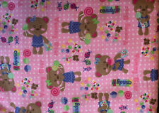 2 Yards Cute Girl's Flannel Fabric Pink Candy Dots Bears Kid