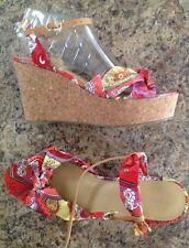 Adorable Multi-Color NINE WEST cork wedge platform sandal shoes size 7.5M