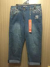 BNWT Ladies Sz 10 Rivers Brand Stretch Mid Blue Denim Crop Style Pants Jeans
