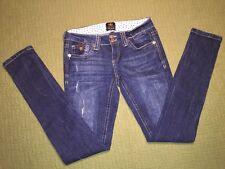River Island Women's Skinny Jeans Dark Distressed US Size 4 UK 8R EUR 34R EUC!