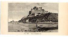 Stampa antica CASTELLO DI BAIA Golfo di Napoli 1910 Old print