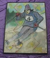 Rares altes Gemälde aus Nachlass Skifahrer von 1966 Skisport