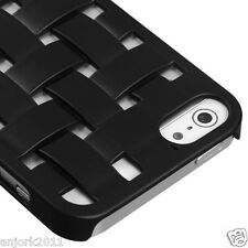 Apple iPhone 5 3D Weave Lines Back Cover Hard Case Accessory Black