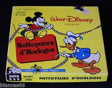 *** FILM SUPER 8 NB MUET 60 METRES - MICKEY - NETTOYEURS D'HORLOGES ***