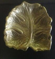 Two (2) Solid Brass Papaia Leaf Dish/Ashtray. From Virginia Metalcrafters.