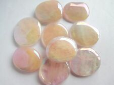 3 x Polished Angel Aura Pink Rose Quartz Crystal Gemstone Palmstones  75g Total