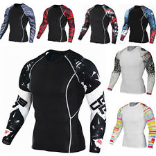 Men Compression Athletic T-shirt Base Layer Tights Tops Sports Shirt Gym Fitness