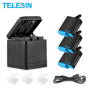 TELESIN 3 Battery Charger Box Set For Gopro Hero 8 7 6 5 Travel Charging