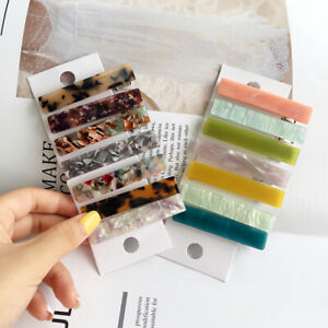 Women Marble Printed Hairpins Vintage Acetate Barrette Hair Snap Clip Headwear