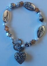 """Silver Gold, Pearl Beads Believe Dream Achieve Charm Bracelet 7"""" Fashion Jewelry"""