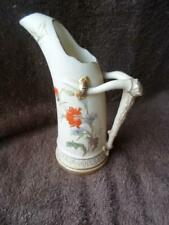 Royal Worcester Gilded Blush Ivory Tusk Ice Jug with Floral Sprays c.1878