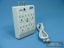 Leviton Gray 6-Outlet SURGE Protector Receptacle Adapter w/ Coaxial CATV 4400-PC