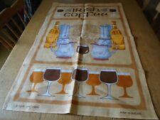 UNUSED VINTAGE IRISH LINEN TEA TOWEL - IRISH COFFEE